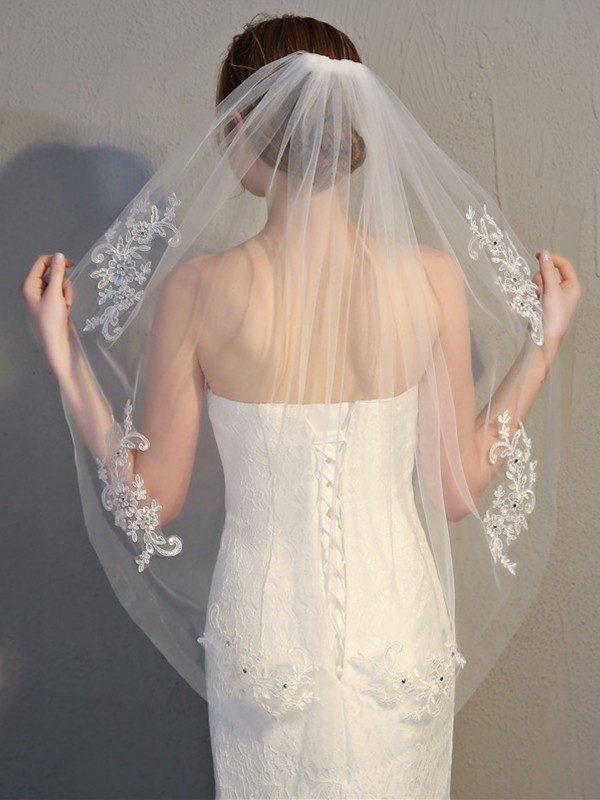 Fancy Tulle With Lace Wedding Veils
