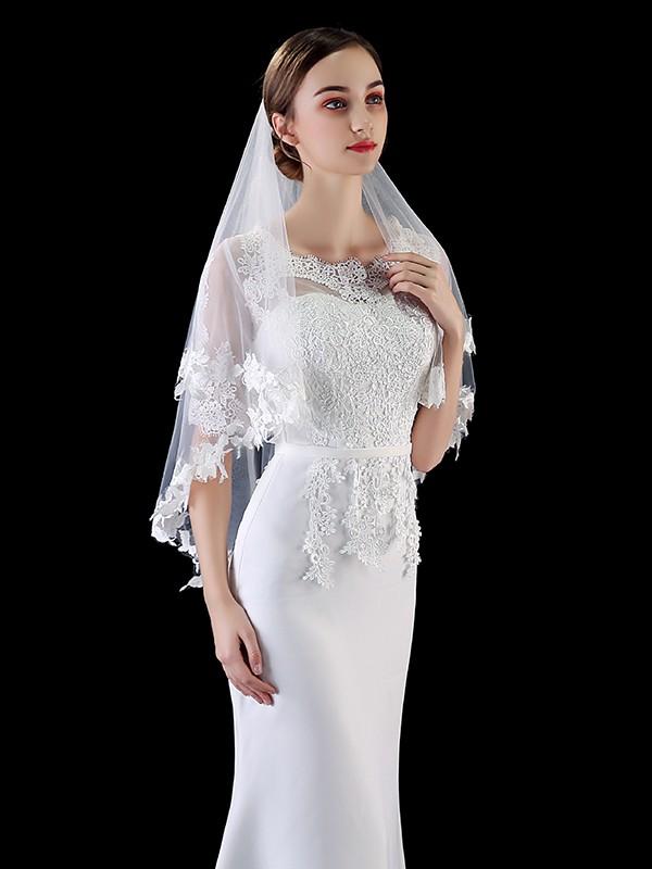 Elegant Tulle With Applique Wedding Veils