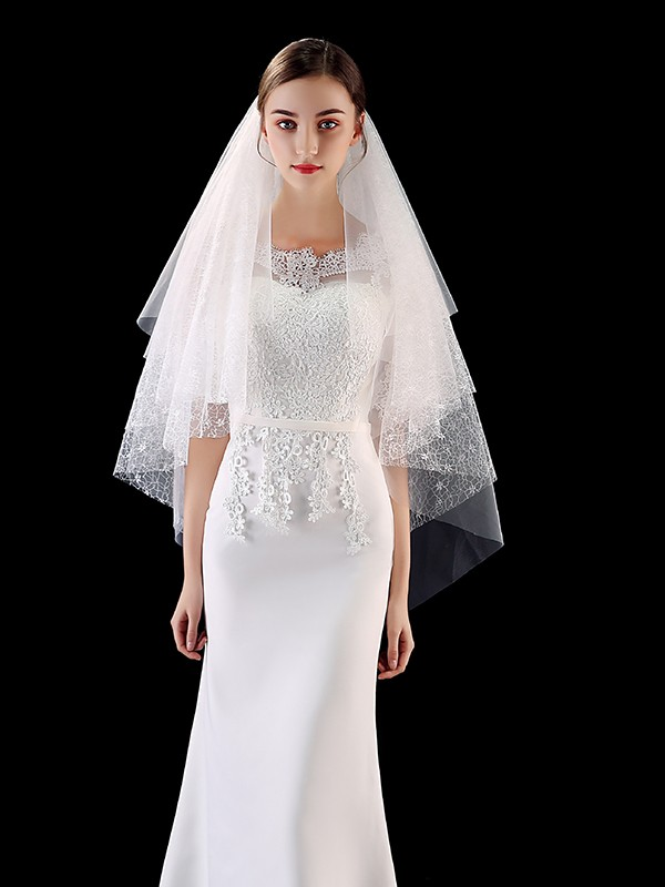 Brilliant Tulle With Lace Wedding Veils