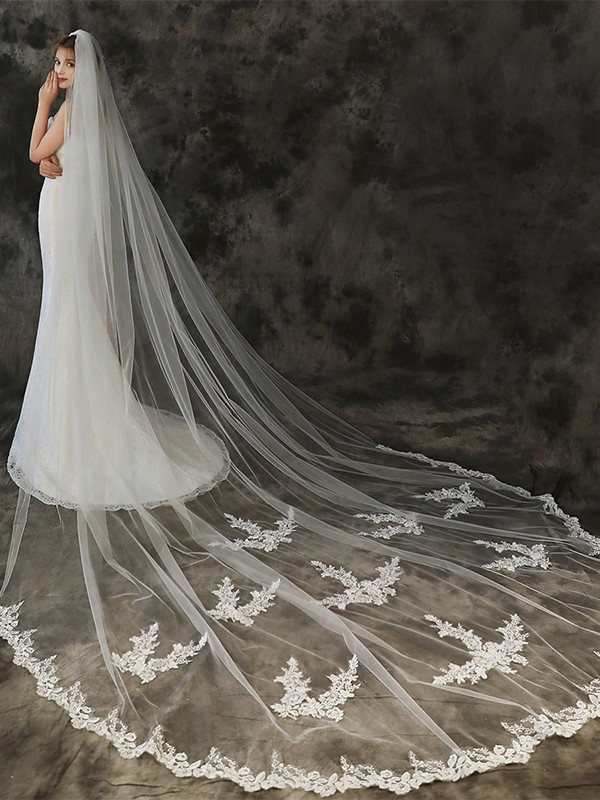 Beautiful Tulle One-Tier With Applique Cathedral Bridal Veils
