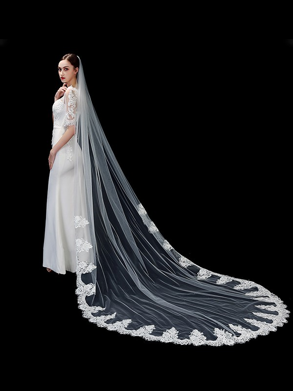 Attractive Tulle One-Tier With Applique Cathedral Bridal Veils