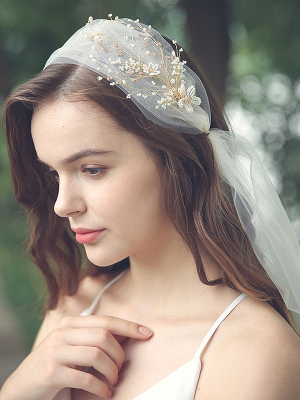 Trending Tulle One-Tier With Beading Elbow Bridal Veils