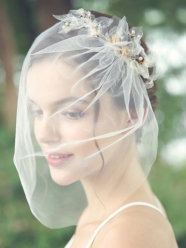 Beautiful Tulle One-Tier With Beading Birdcage Veils