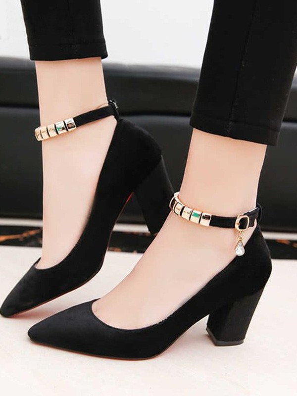 Women's PU Chunky Heel Closed Toe Sandals