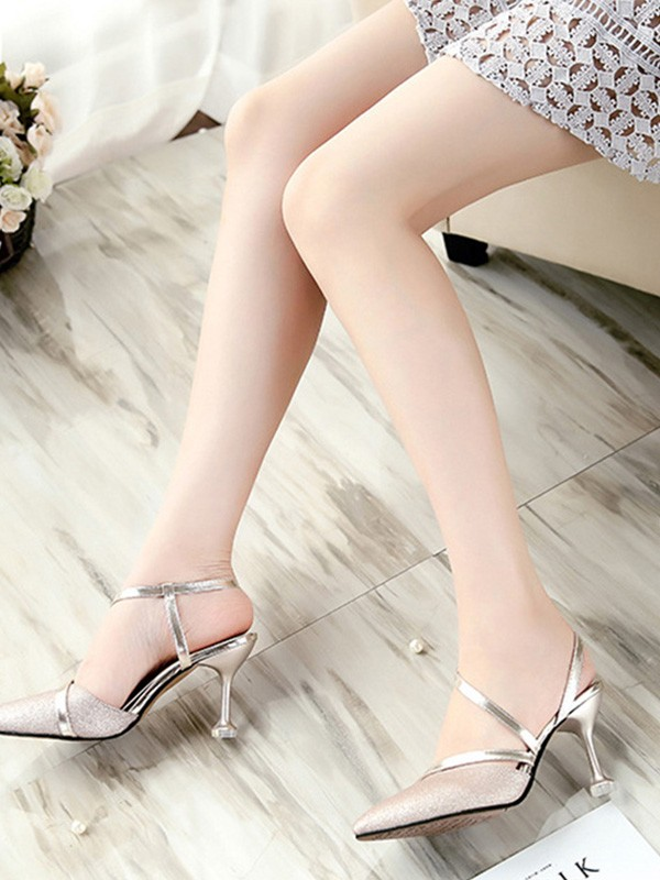 Women's PU Stiletto Heel Closed Toe Sandals