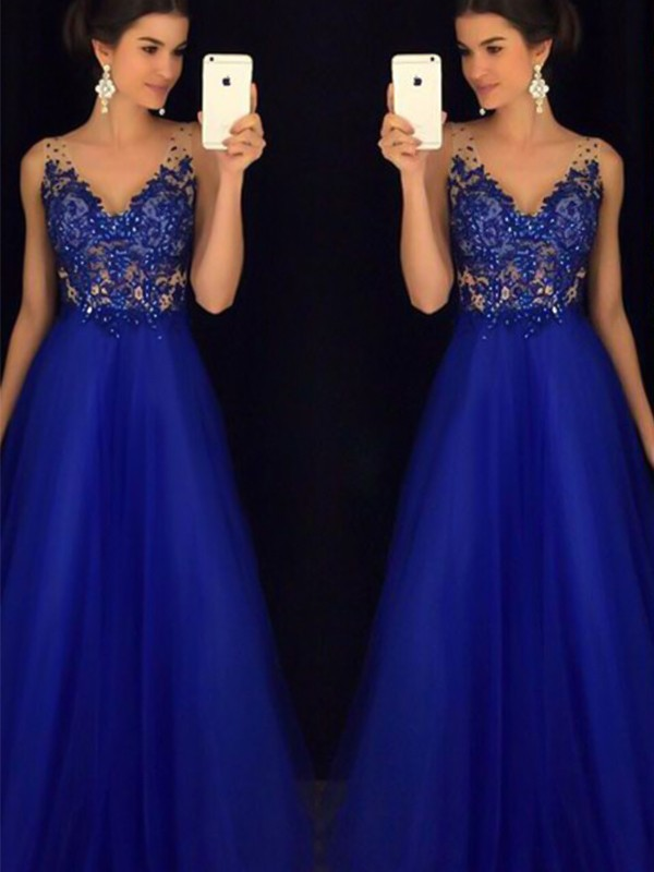 Sweet Sensation Princess Style V-neck Floor-Length Applique Tulle Dresses
