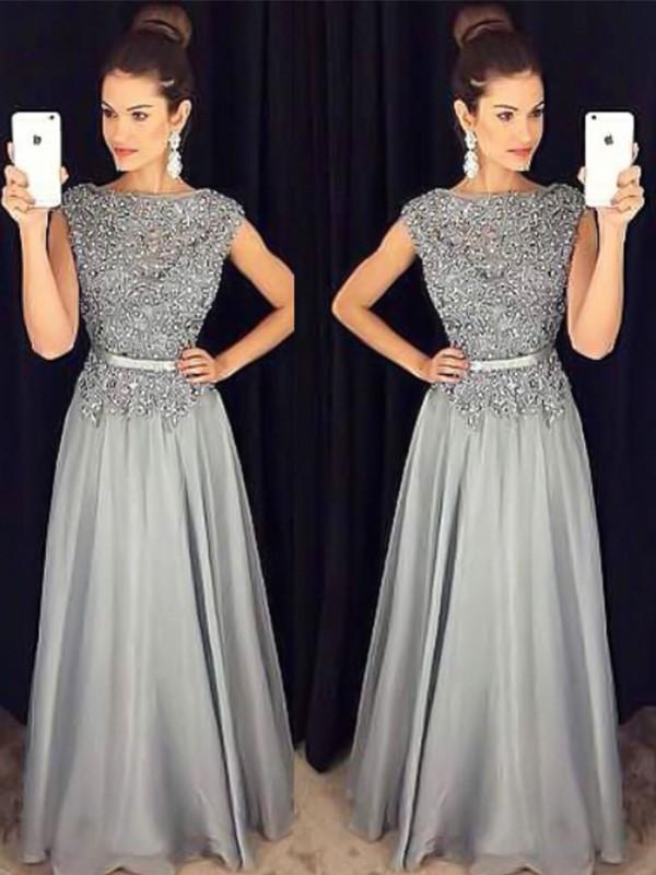 Pretty Looks Princess Style Bateau Floor-Length Applique Chiffon Dresses