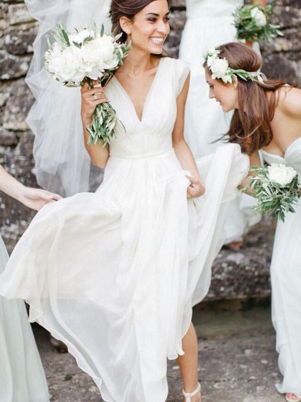 Vibrant Stylist Princess Style V-neck Floor-Length Ruffles Chiffon Wedding Dresses
