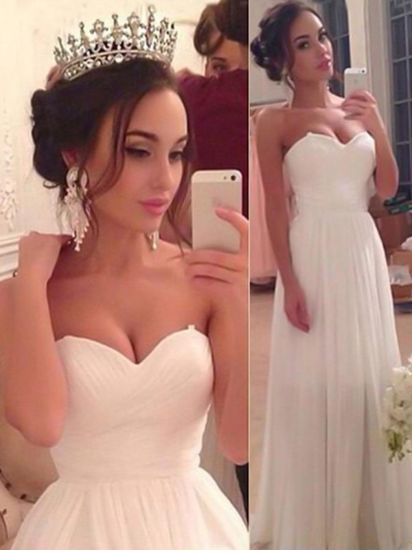 Just My Style Princess Style Sweetheart Floor-Length Ruffles Chiffon Wedding Dresses