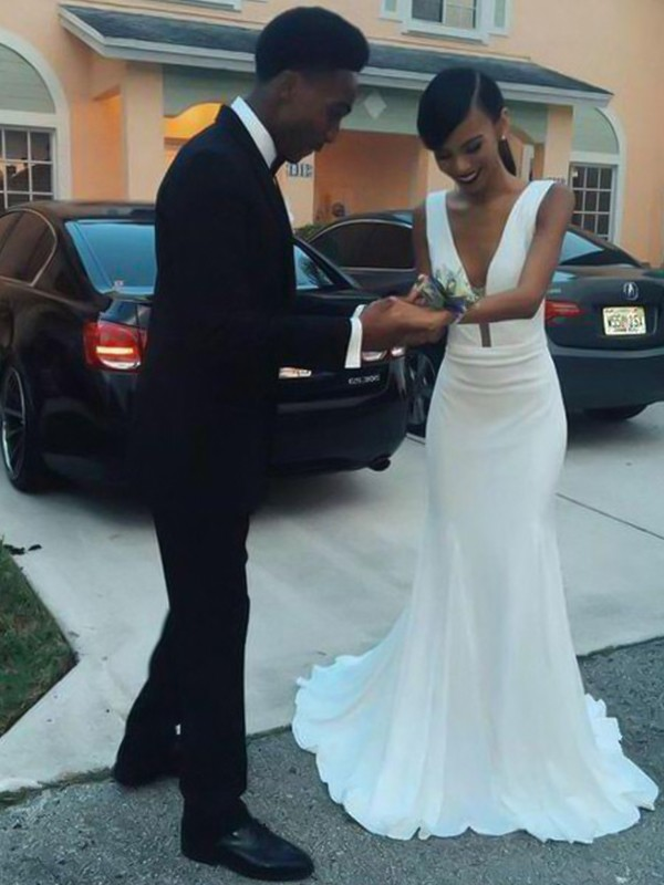 Romantic Vibes Sheath Style V-neck Sweep/Brush Train Ruffles Satin Wedding Dresses