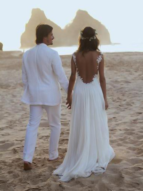 Defined Shine Princess Style Spaghetti Straps Sweep/Brush Train Lace Chiffon Wedding Dresses
