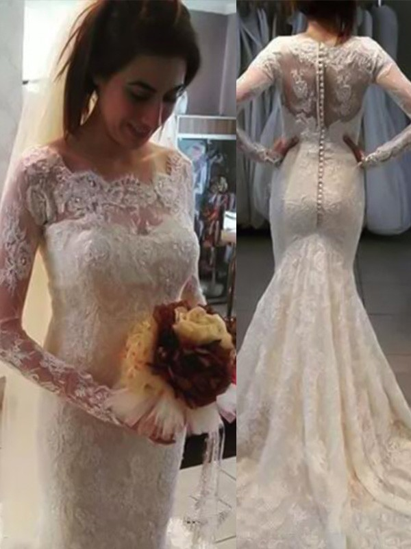 Dashing Darling Mermaid Style Bateau Sweep/Brush Train Applique Lace Wedding Dresses