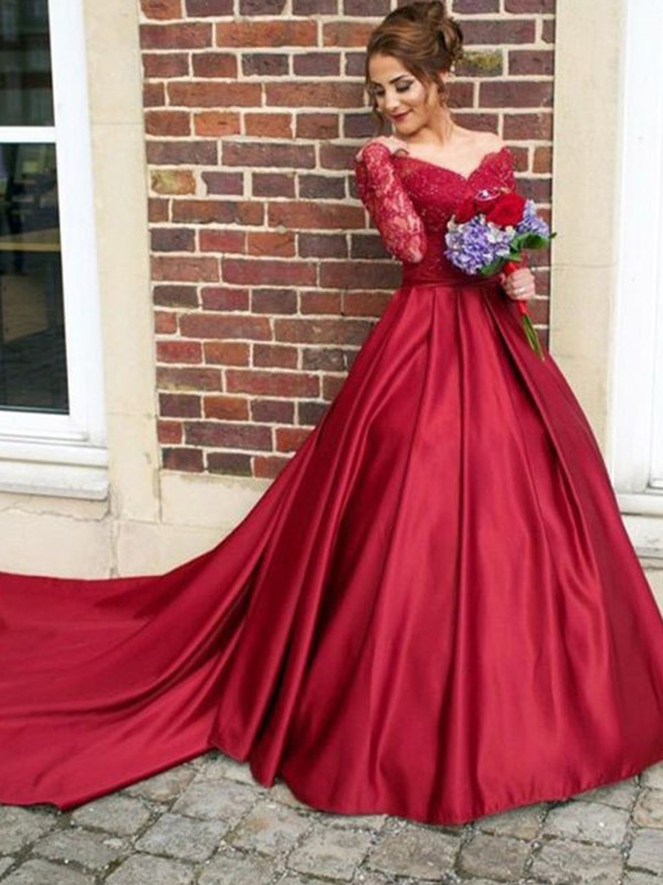 Savor the Occasion Princess Style V-neck Sweep/Brush Train Lace Satin Dresses