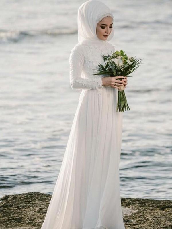 Absolute Lovely Princess Style Jewel Floor-Length Applique Chiffon Wedding Dresses