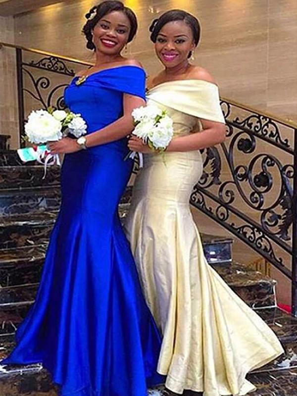 Treasured Reveries Mermaid Style Off-the-Shoulder Floor-Length Ruffles Satin Bridesmaid Dresses