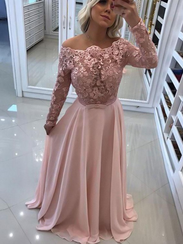 Absolute Lovely Princess Style Bateau Floor-Length Lace Chiffon Dresses