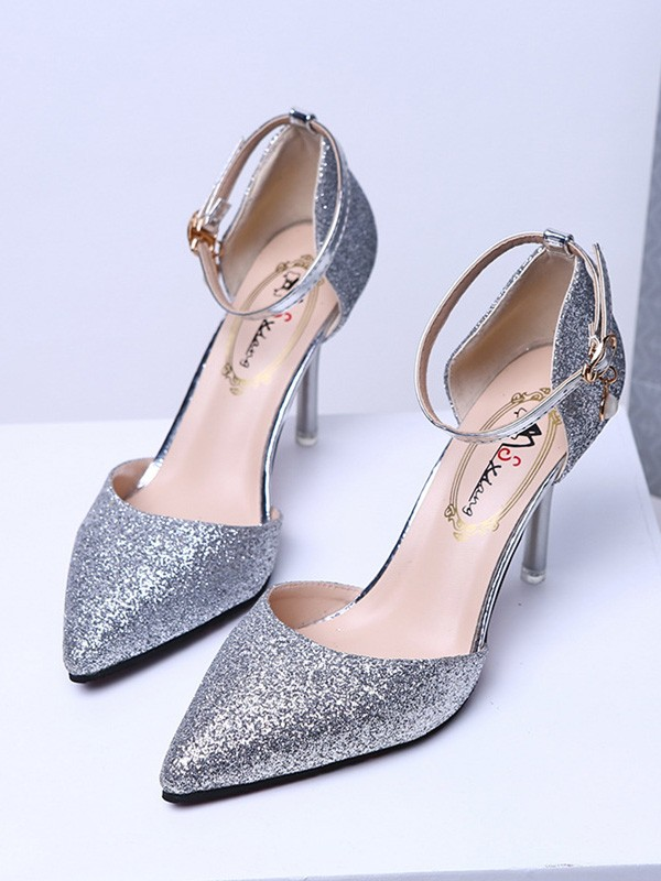 Women's Closed Toe Sparkling Glitter Stiletto Heel High Heels