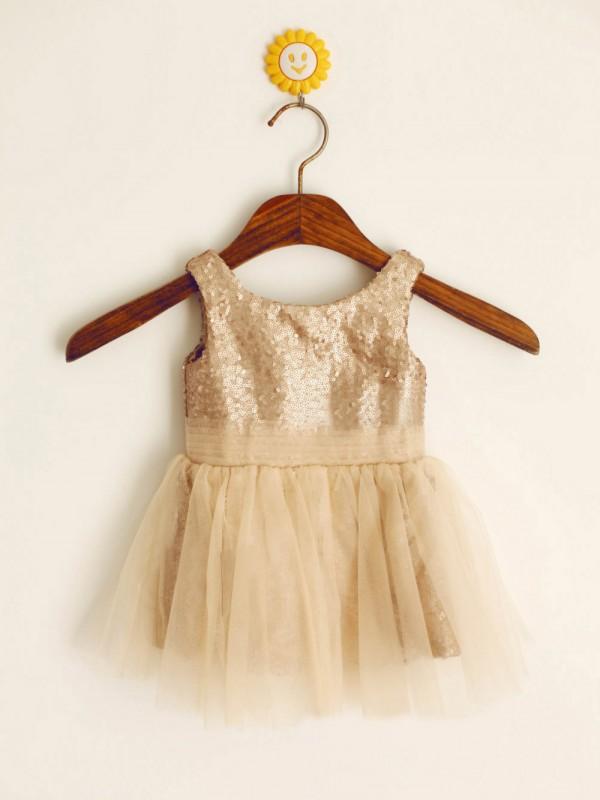 Stylish Refresh Princess Style Scoop Long Sequins Flower Girl Dresses