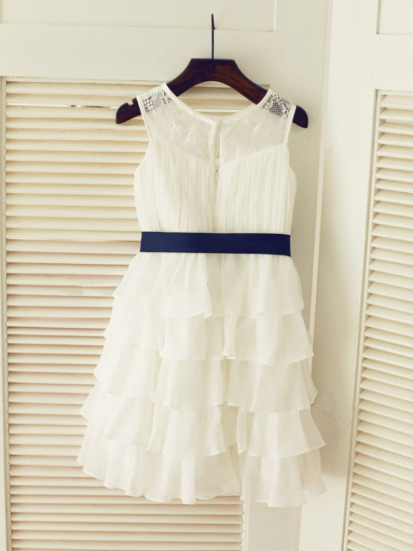 Yours Truly Princess Style Scoop Ruched Long Chiffon Flower Girl Dresses