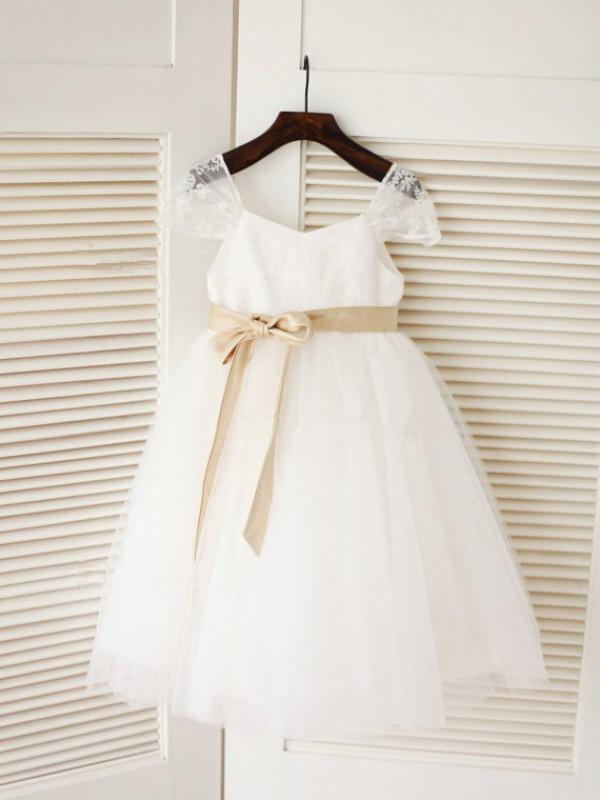 Just My Style Ball Gown Scoop Sash/Ribbon/Belt Long Tulle Flower Girl Dresses