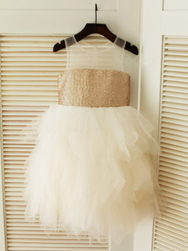 Defined Shine Ball Gown Scoop Ruffles Long Tulle Flower Girl Dresses
