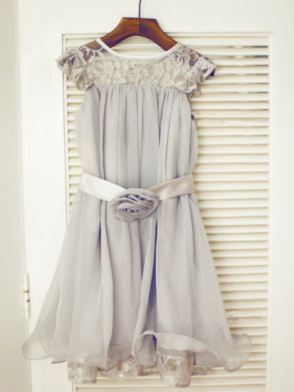 Beautiful You Princess Style Scoop Lace Long Chiffon Flower Girl Dresses