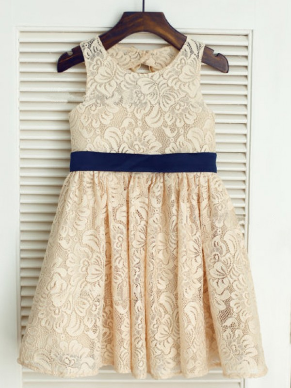 Easily Adored Princess Style Scoop Bowknot Long Lace Flower Girl Dresses
