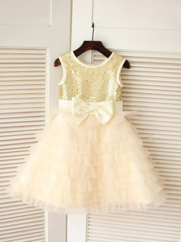 Naturally Chic Princess Style Scoop Bowknot Long Tulle Flower Girl Dresses