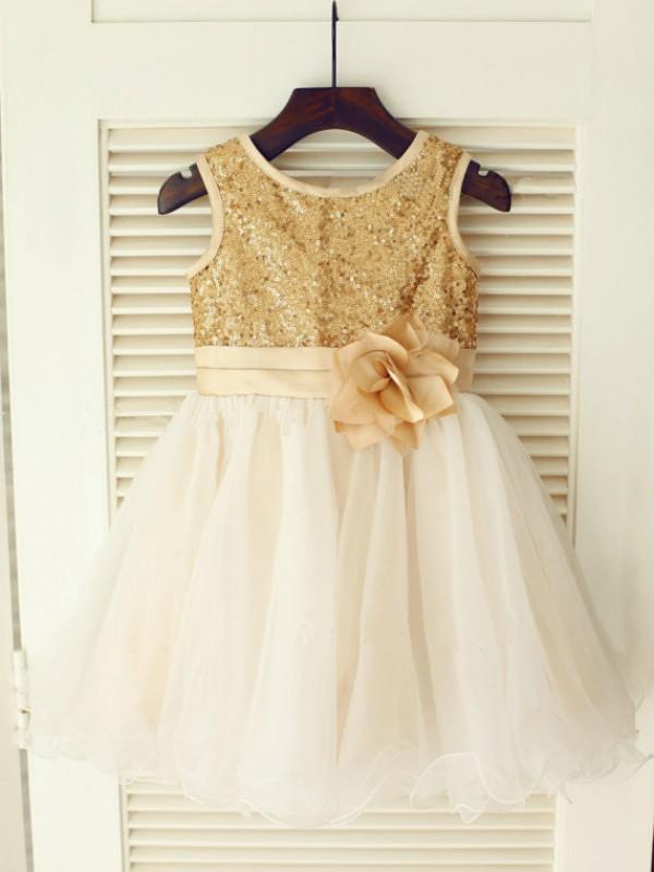 Glitz the Spot Princess Style Scoop Sequin Long Organza Flower Girl Dresses