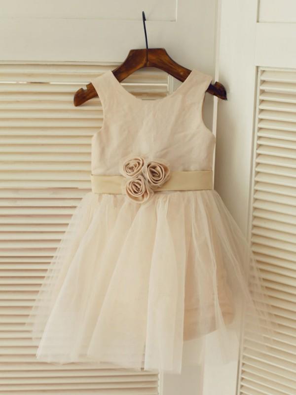 Modern Mood Princess Style Scoop Sash/Ribbon/Belt Long Tulle Flower Girl Dresses