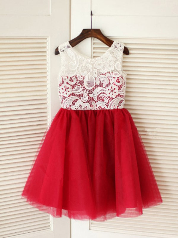 Absolute Lovely Princess Style Scoop Lace Long Tulle Flower Girl Dresses