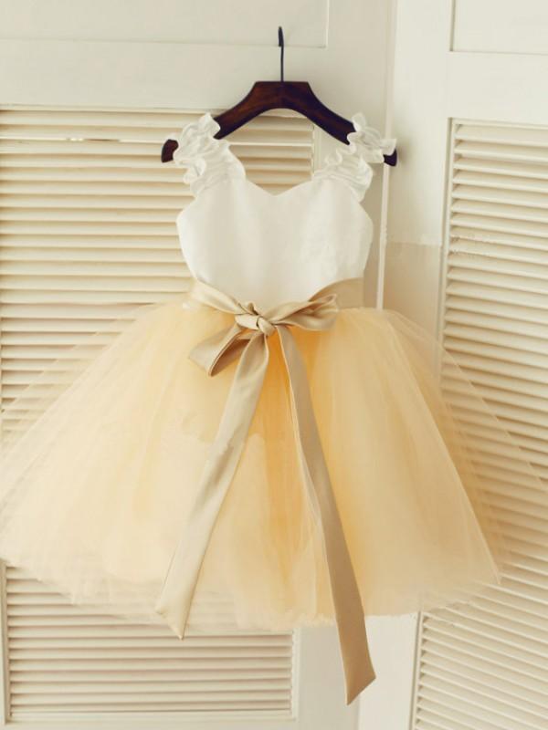 Pleasant Emphasis Straps Ball Gown Sash/Ribbon/Belt Long Tulle Flower Girl Dresses
