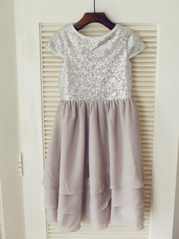 Time to Shine Princess Style Jewel  Sequin Long Chiffon Flower Girl Dresses