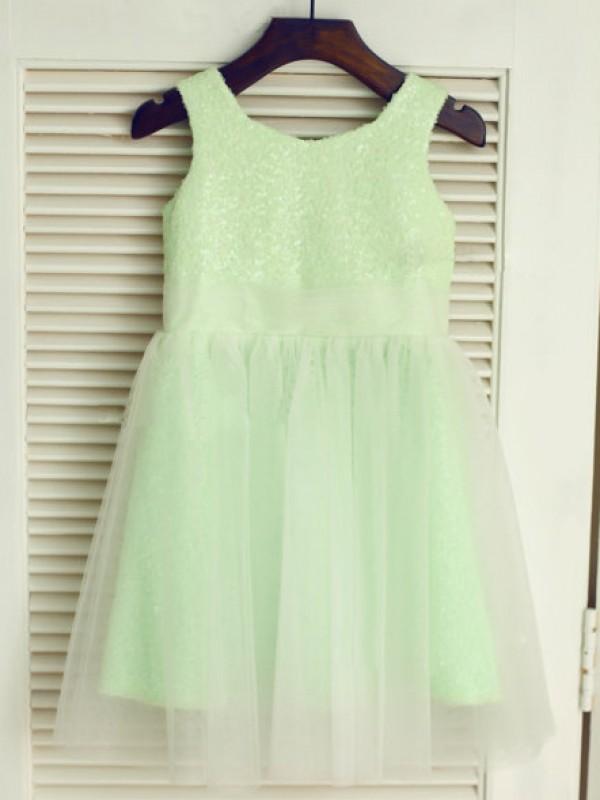 Desired Spotlight Princess Style Scoop Long Tulle Flower Girl Dresses