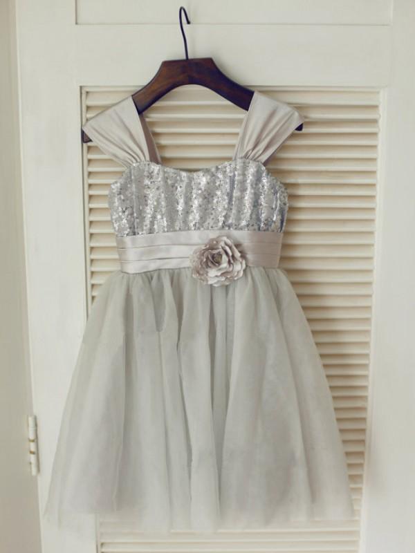 Glitz the Spot Princess Style Straps Bowknot Long Tulle Flower Girl Dresses