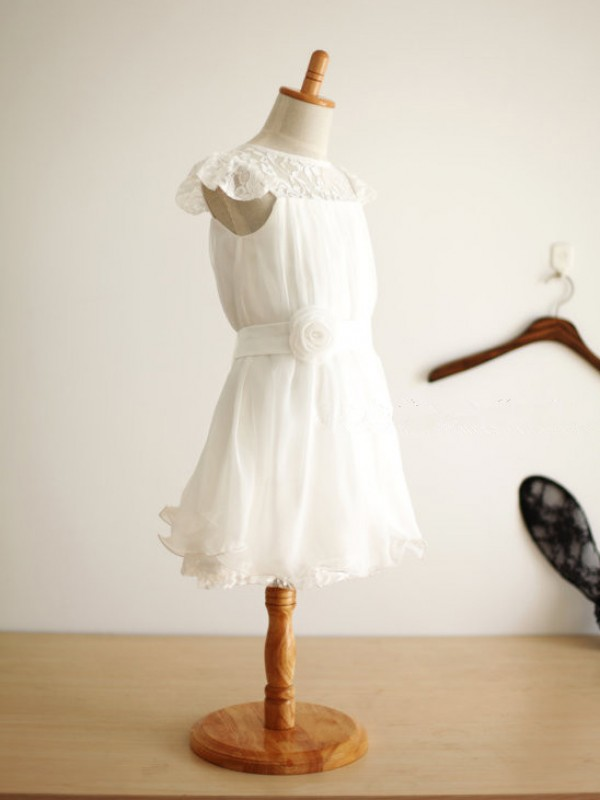 Pleasant Emphasis Princess Style Scoop Hand-Made Flower Long Chiffon Flower Girl Dresses