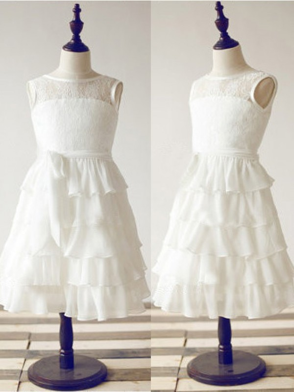Time to Shine Princess Style Scoop Lace Long Chiffon Flower Girl Dresses
