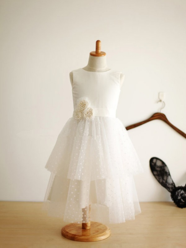 Limitless Looks Princess Style Jewel Hand-Made Flower Long Tulle Flower Girl Dresses
