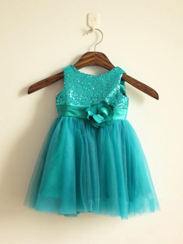 Desired Spotlight Princess Style Scoop Sequin Long Tulle Flower Girl Dresses