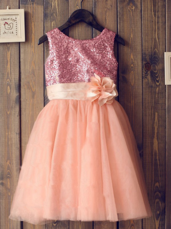 Comfortably Chic Princess Style Scoop Sequin Long Tulle Flower Girl Dresses