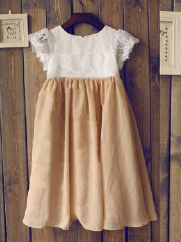 Styled to Smile Princess Style Scoop  Long Chiffon Flower Girl Dresses