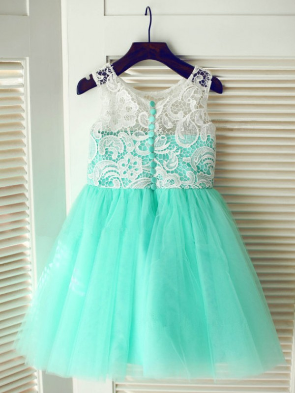 First Impressions Princess Style Scoop Lace Long Tulle Flower Girl Dresses
