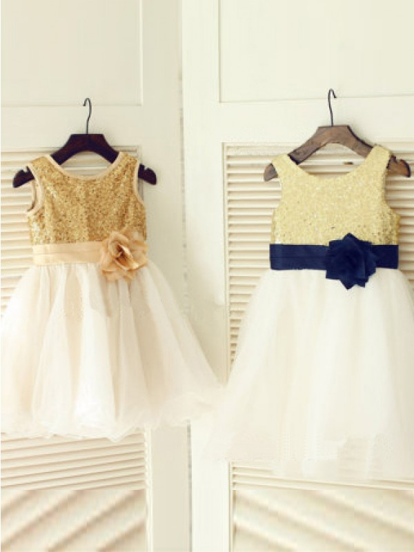 Confident Option Princess Style Scoop Hand-Made Flower Long Tulle Flower Girl Dresses