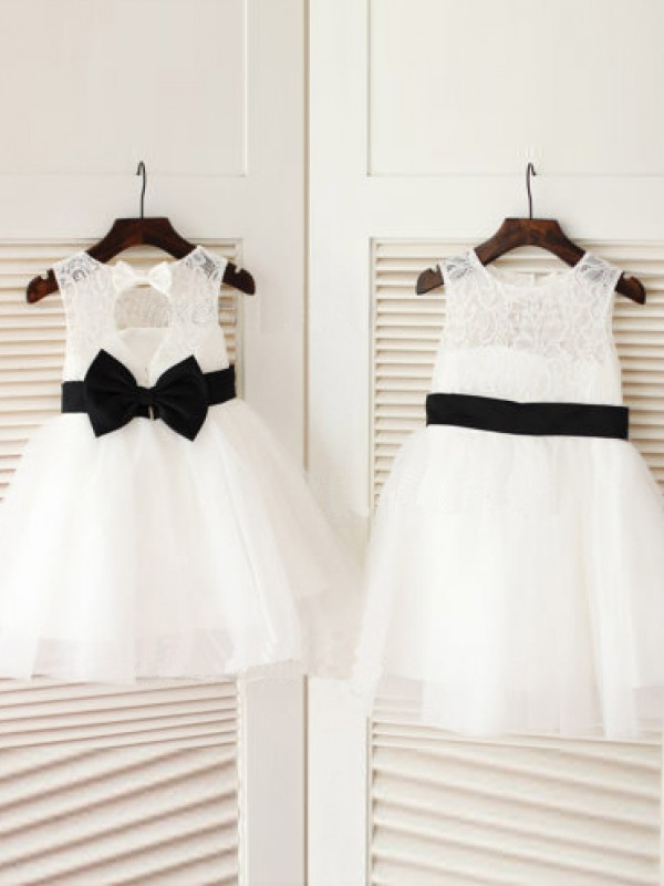 Fabulous Fit Princess Style Scoop Bowknot Long Tulle Flower Girl Dresses