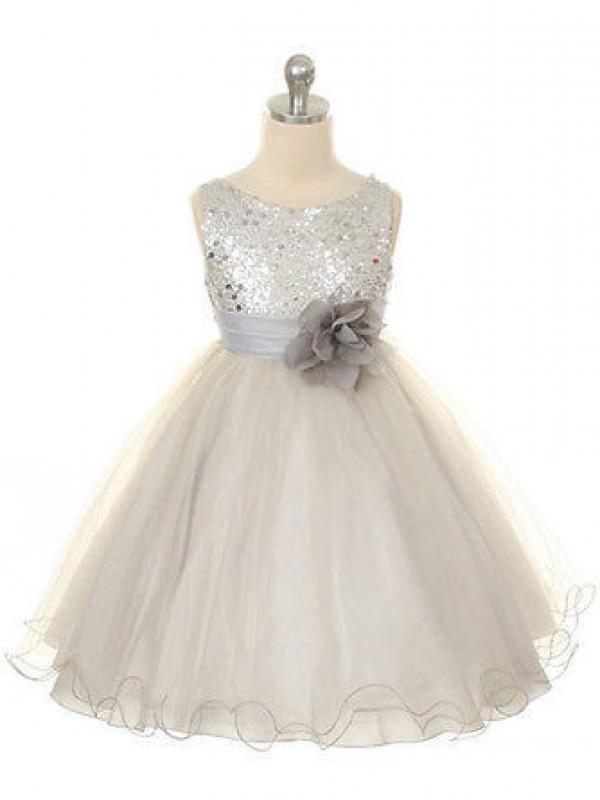 Visual Moment Ball Gown Jewel Hand-Made Flower Long Tulle Flower Girl Dresses
