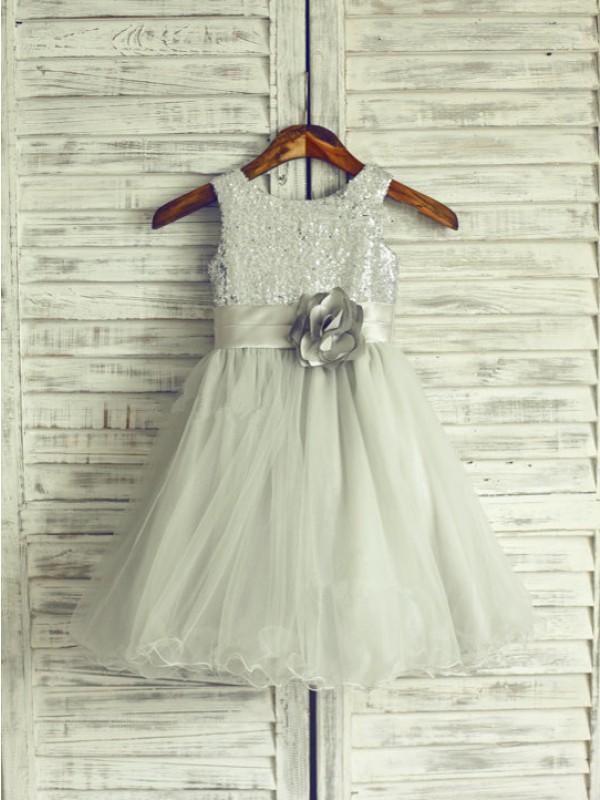 Cheerful Spirit A-Line Net Scoop Knee-Length With Hand-Made Flower Flower Girl Dresses