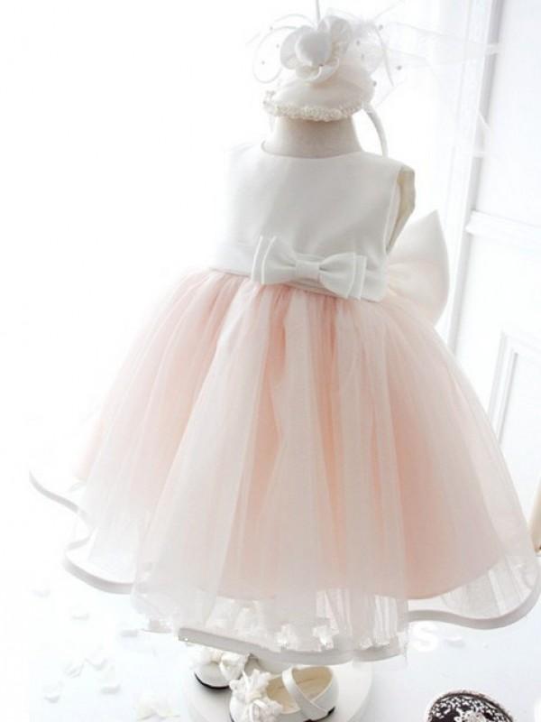 Too Much Fun Ball Gown Jewel Bowknot Long Organza Flower Girl Dresses
