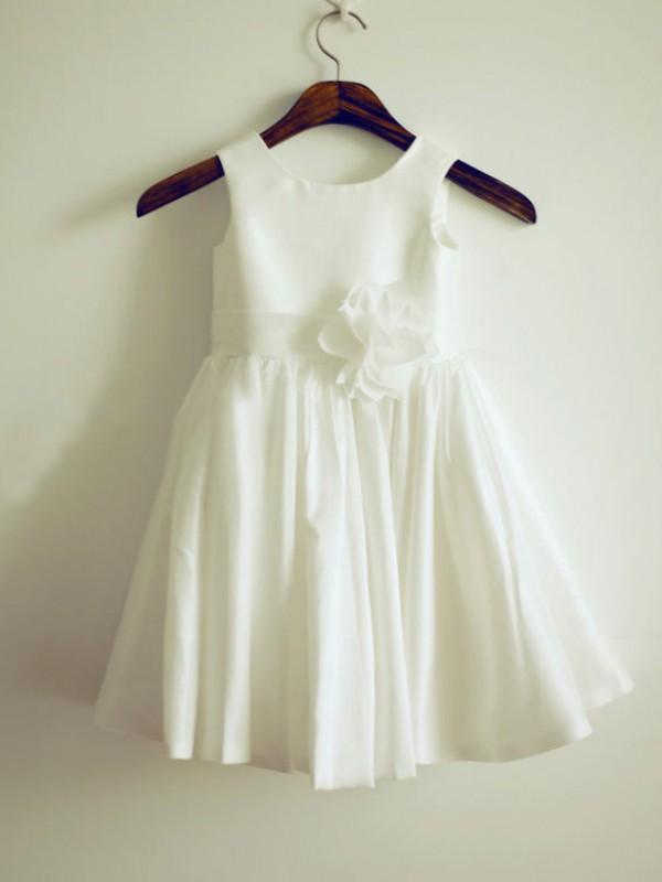 Open to Adoration Princess Style Jewel Hand-Made Flower Long Taffeta Flower Girl Dresses
