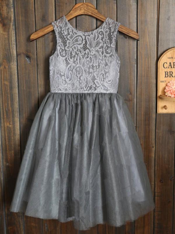 Stylish Refresh Princess Style Scoop Sash/Ribbon/Belt Tulle Long Flower Girl Dresses