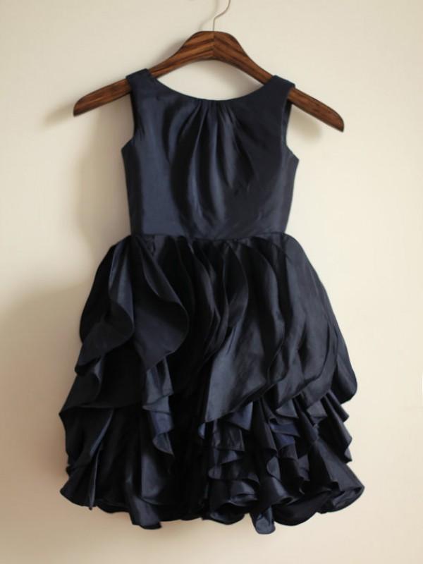 Yours Truly Princess Style Jewel Long Taffeta Flower Girl Dresses